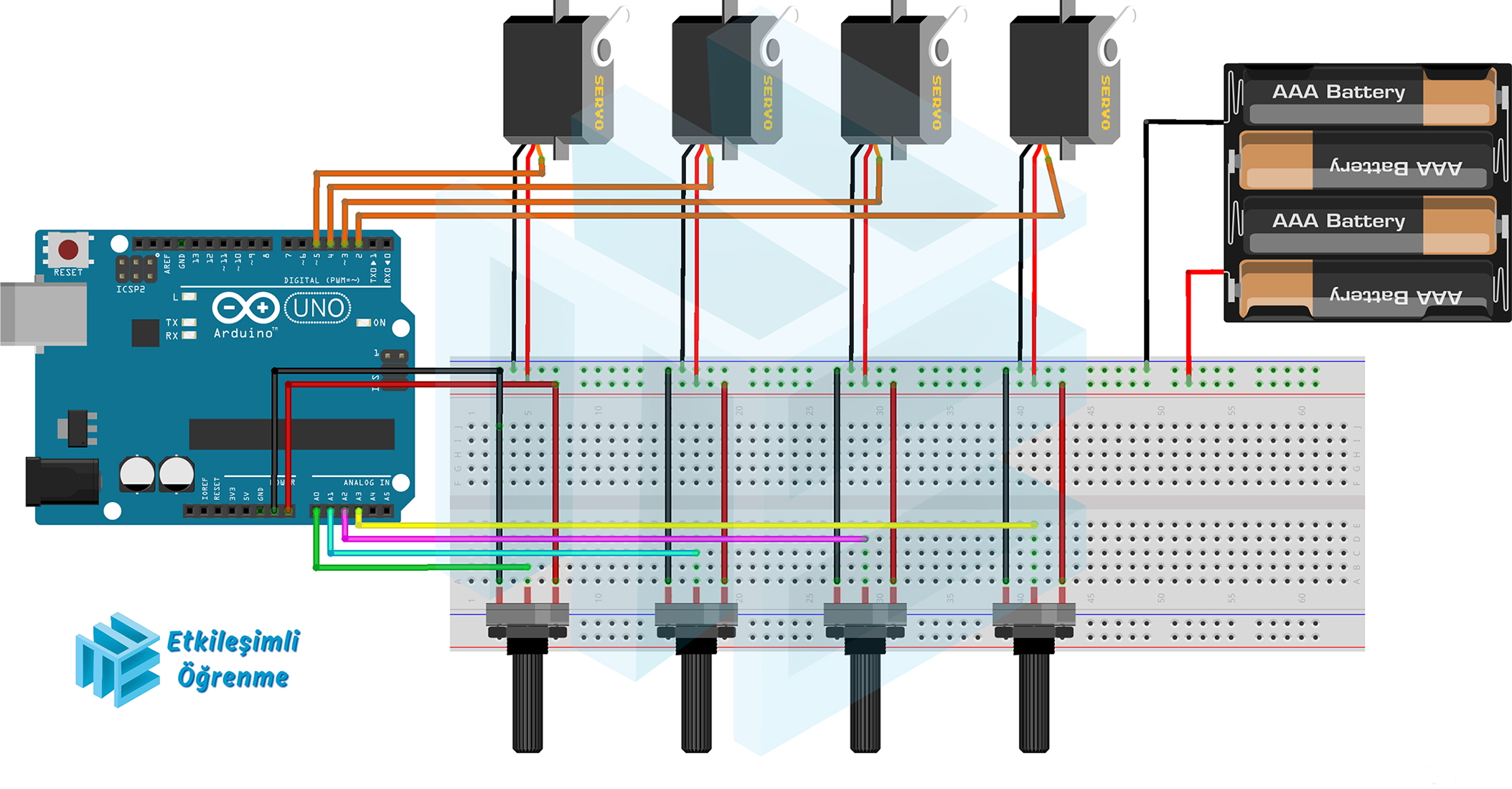 Potansiyometre ile 4 Adet Servo Motor Kontrollü Robotik Kol