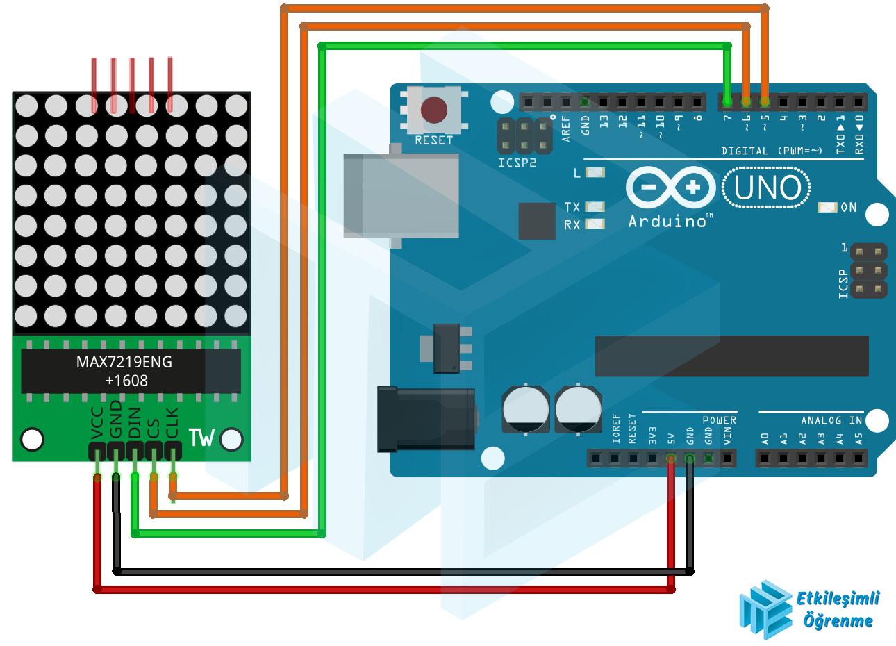 MAX7219 - 8X8 Dot Matrix Kullanımı
